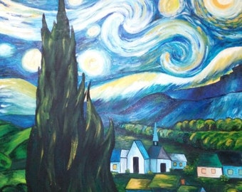 "Painting ""Starry Night"" by Vincent Van Gogh"