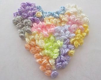"100! Satin Ribbon Roses, Rose Embellishments, Rose Applique, Flower Embellishments, Headband Roses, Card Making, Pastel Rose Mix, 10mm/0.4"""