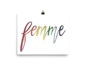 "watercolor ""femme"" print"