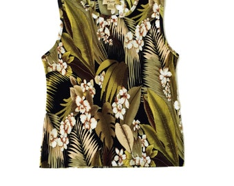 90s abstract Palm Tree Digital Textured Sleeveless Top