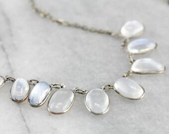 Fine Sri Lankan Moonstone Sterling Silver Necklace 0MT6Q5-P