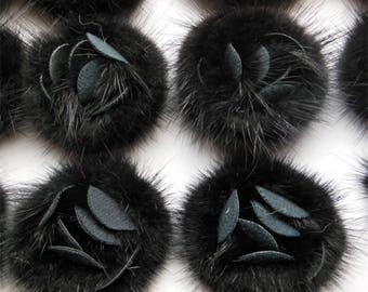 2pcs Black Real Mink Fur Rose Discoid Flowers Accessory Fur Flowers 6cm