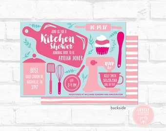 kitchen shower invitation, kitchen bridal shower Invitation, bridal shower - Lovely Little Party
