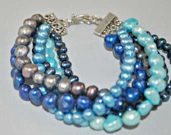 Shades of Blue Multi-strand Pearl Bracelet