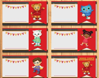 Daniel Tiger Food Tents Chalkboard * Daniel Tiger Birthday * Daniel Tiger  Food Labels * Daniel Tiger Folded Tents   Editable PDF