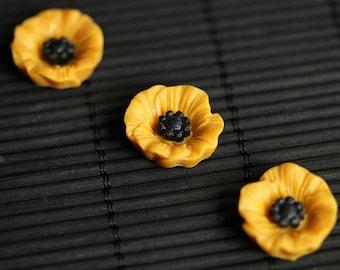 Orange Poppy Flower Magnets. Set of Three Refrigerator Magnets. Orange Flower Magnet Set. Fridge Magnets. Office Magnets or Kitchen Decor.