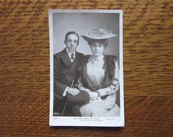 King Alfonso XIII and Queen Ena of Spain, 1906 Photo Postcard,Antique Vintage Photo,Spanish Royal History,Princess Ena of Battenberg,Rotary
