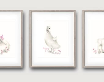Farm Animal Nursery, Bunny Art Print, Rabbit Picture, Pink Nursery Art, Baby Girl, Duck,Lamb, Childrens Art, Kids Wall Decor, Farmyard Print