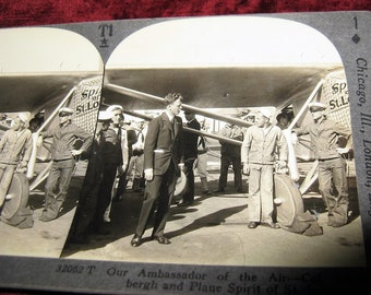 Rare Keystone Stereoview Lindbergh and The Spirit of St. Louis Stereoview Photo