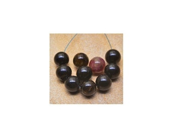 Tourmaline beads  , 7mm  Natural Tourmaline ,  Smooth Round Gemstone  Beads , 12Pcs