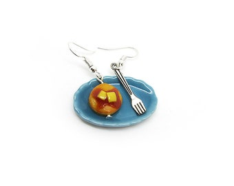 Pancake and a fork earrings, handmade food charm, polymer clay miniature, food jewelry, food earrings, realistic pancake
