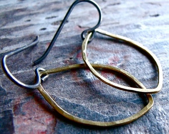 Hammered Brass Petal Sterling Silver Earrings