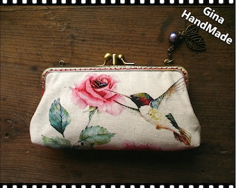 Peony & Hummingbird iphone case two compartment / Coin purse / Wallet / Pouch / wedding clutch / kiss lock frame purse bag-GinaHandmade