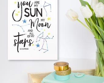 Printable Art Print All My Stars - kids quote, printable kids decor, sun, moon, stars, Inspirational Wall Art, 16x20 11x14 8x10 5X7