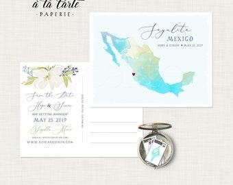 Destination wedding Sayulita Cabo Mexico map beach wedding invitation Save the Date Postcard Mexican wedding Deposit Payment