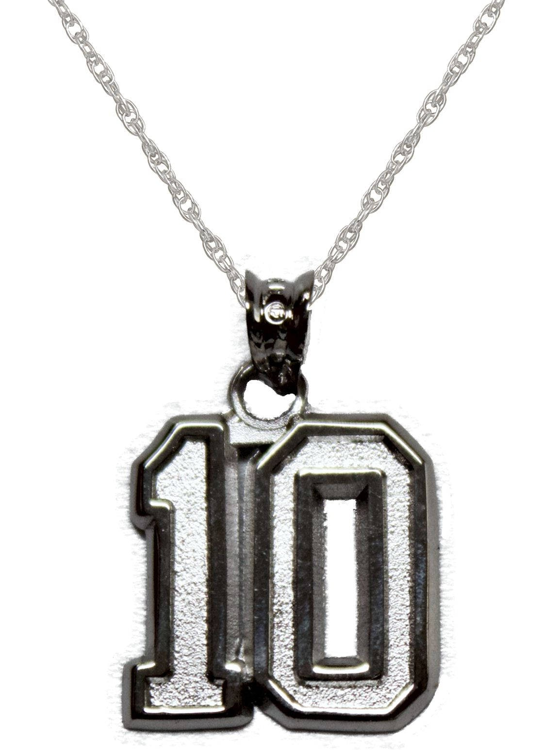 Sterling silver number 10 pendant on chain team number zoom aloadofball Choice Image