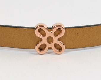 Flower Sliders for 10mm Flat Leather - Rose Gold - SL206-RG - Choose Your Quantity