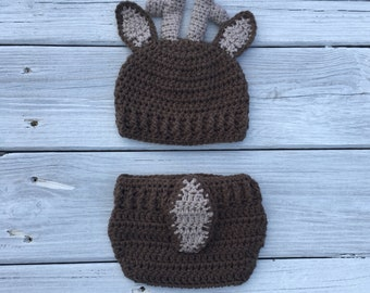 Baby Deer Hat, Baby Deer Hat and Diaper Cover, Baby Deer Photo Set, Newborn Photo Prop, Photo Props