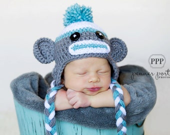 Baby Sock Monkey Hat, Sock Monkey Hat, Baby Winter Hat, Monkey Hat, Hat with Ears, Baby Boy Hat, Baby Girl Hat, Crochet Sock Monkey Hat