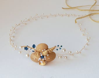Golden & navy blue beach wedding head circlet. Bridal Seashell Headband. Mermaid Headband. Beach Wedding Head Circlet