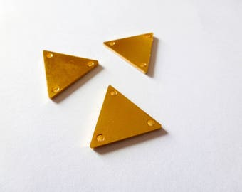 3 connectors with 3 holes 15 * 17mm triangle geometric metal Golden (SFBD03)