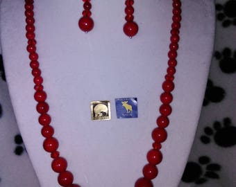 Red coral & Crystal Necklace and Earring Set