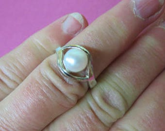 Pearl Ring - Cultured Freshwater Sterling Silver Pearl Ring - White Lotus Pearl Ring Size 6 3/4 + - June Birthstone Ring