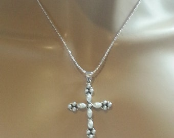 Cross Pendant with Faux Pearls in Sterling Silver with 18 inch SS Chain Religious Jewelry Gift Precious Gemstone Jewelry Gift for Her