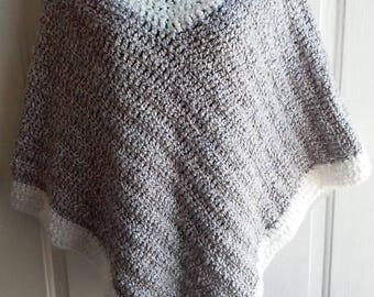 Poncho - Gray and White Crochet