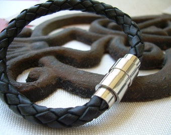 Black Braided Mens Leather Bracelet with Stainless Steel Magnetic Clasp, Leather Bracelet, Mens Jewelry, Mens Bracelet, Mens Gift, Leather