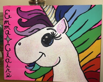 Unicorn with Name Painting: Made to Order