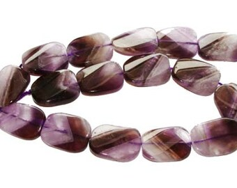 Amethyst Twist Rectangle Gemstone Beads