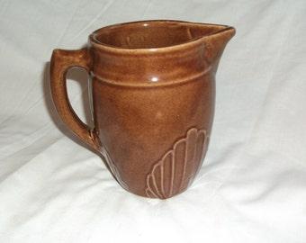 Vintage Brown Stoneware Kitchen Utilitarian Pitcher Jug 32 oz