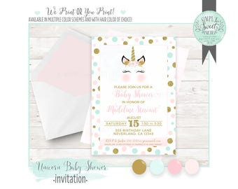 UNICORN baby Shower Invitation. INCLUDES accent color of choice. PDF or Jpeg file. Print service available upon request.