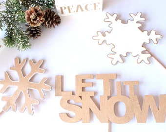 "Photo Booth Word Props, Christmas Props, ""Let It Snow"" word props, Word Art, Photo Booth Props, Party Props, Wood Props"