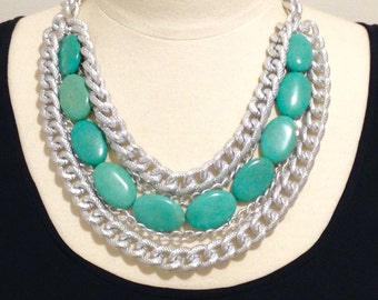 Turquoise statement necklace- chunky chain necklace- silver chain- blue turquoise- Mediterranean Summer Necklace