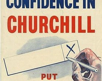 1950 Conservative Party Vote For Winston Churchill Election Poster A3 Print