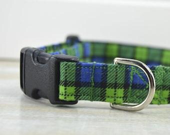 Green and Blue Plaid Dog Collar, Adjustable Dog Collar, Pet Neckwear, Small Dog Collar, Large Dog Collar