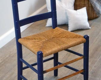 Antique child's wooden ladder back chair with hand woven rush seat, hand made french ticking cushions, restored antique, shaker style