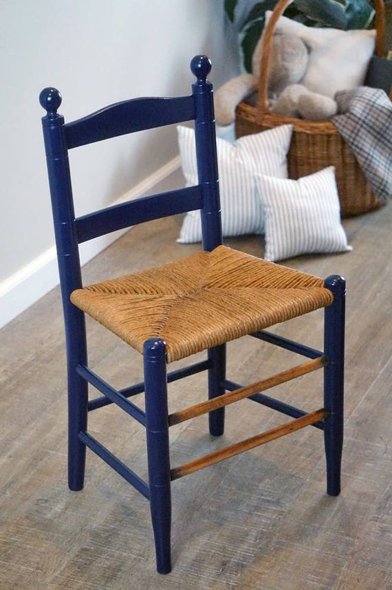 Charming Antique Childu0027s Wooden Ladder Back Chair With Hand Woven