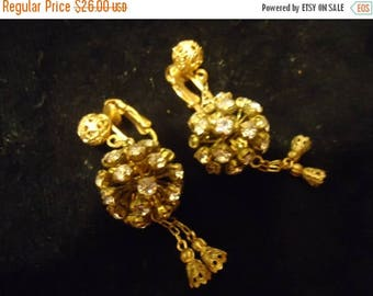ON SALE Vintage Rhinestone 1950's Earrings Old Hollywood Glam Black Tie Formal Glamour Girl Rockabilly Retro Jewelry