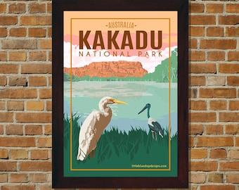 Kakadu National Park Australia - Vintage Travel Poster