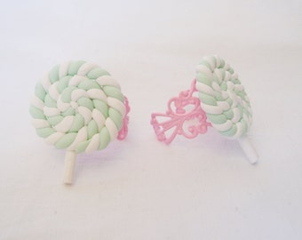 Pastel Mint Swirly Lollipop on Pink Filigree Ring