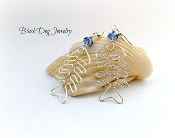 Silver Wire Wrap Fishbone Dangle Earrings with Crystals - Fish Hook Jewelry - Whimsical Beach Themed Jewelry