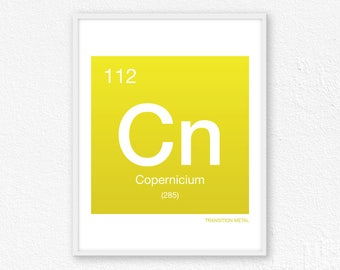 112 Copernicium, Periodic Table Element | Periodic Table of Elements, Science Wall Art, Science Poster, Science Print, Science Gift