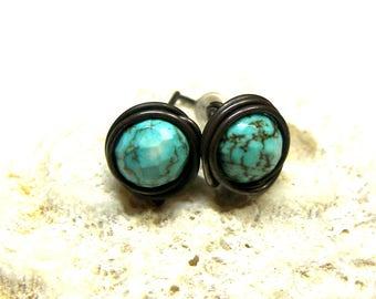 Turquoise Stud Earrings Gemstone Studs Turquoise Earrings Turquoise Post Earrings gift for her Turquoise fashion posts small stud earrings