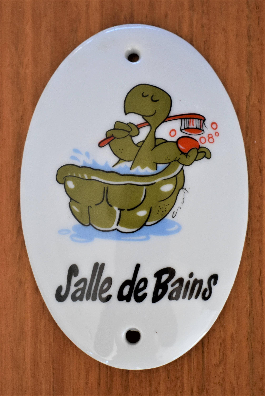Lambris Pvc Salle De Bain Bricoman ~ Vintage Porcelain Bathroom Sign Salle De Bains Sign