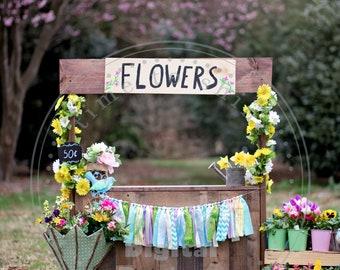 Flower Stand, Spring Photography, Digital Backdrop, Digital Background, Kids Photo, Photoshop,Flowers, Composite Backdrop
