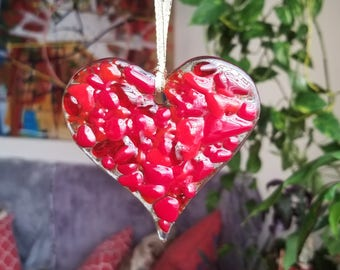 Red Fused Glass Heart Suncatcher Handmade in Omaha Gift Under 15