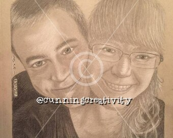 Custom Drawing: Personalized, Made to Order, For Him, For Her, Anniversary, Wedding, Couples, Birthday, Portraits, Valentine's Day